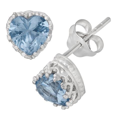 Gioelli Sterling Silver Aquamarine Heart Earrings