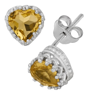 Gioelli Sterling Silver Citrine Heart Earrings