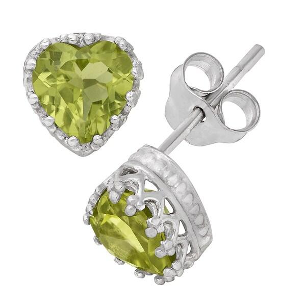 Gioelli Sterling Silver Peridot Heart Earrings