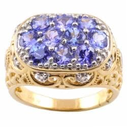 Michael Valitutti 14k Gold Tanzanite and 1/10ct TDW Diamond Ring (I-J, I1-2)