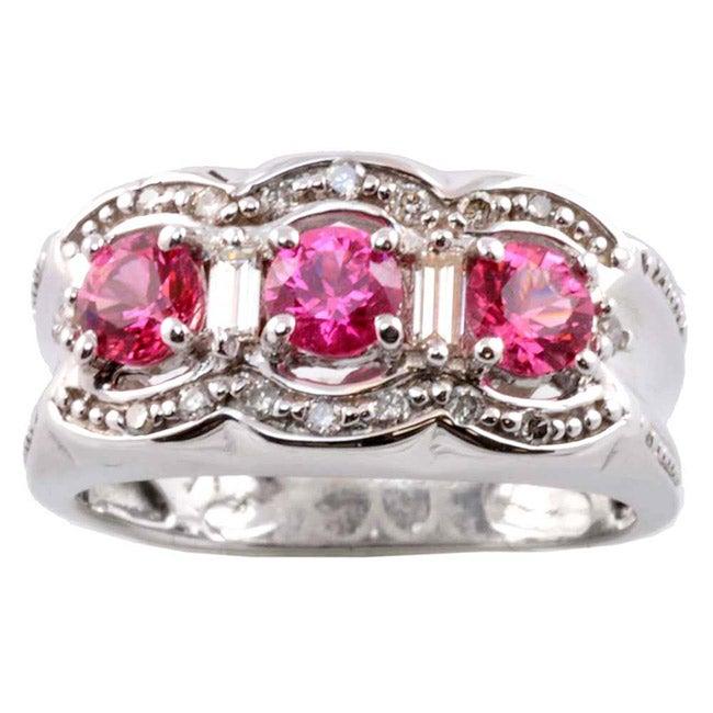 Michael Valitutti 14k Gold Pink Sapphire and 1/5ct TDW Diamond Ring (I-J, I1-2)
