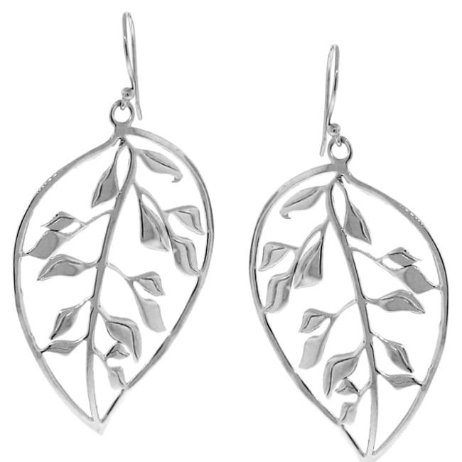 Sterling Silver Dangle Leaf Earrings