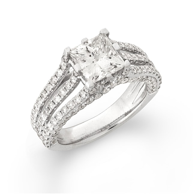 Montebello 14k White Gold 3 1/2ct TDW Princess-cut Diamond Engagement Ring (H, I1)