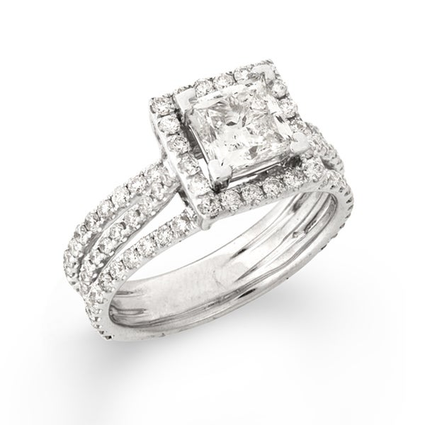 Montebello 14k White Gold 2 2/5ct TDW Princess-cut Diamond Engagement Ring (G-H, SI2)
