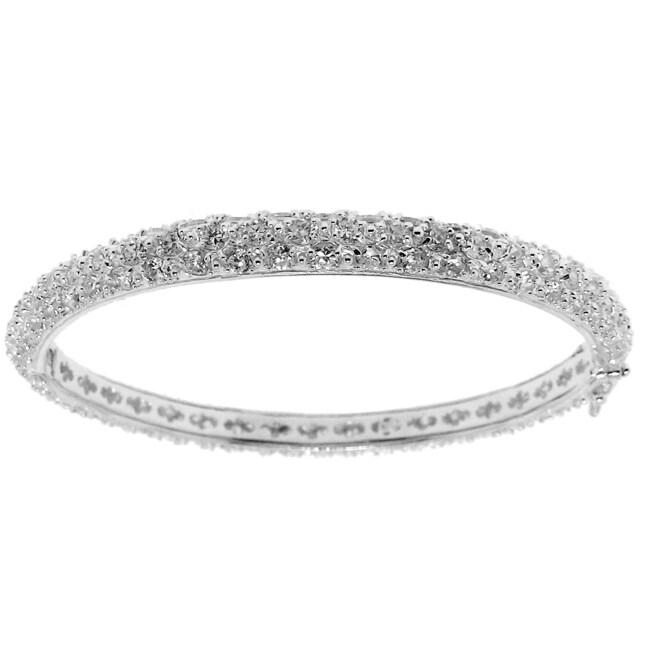 Sterling Silver Clear Cubic Zirconia Bangle Bracelet