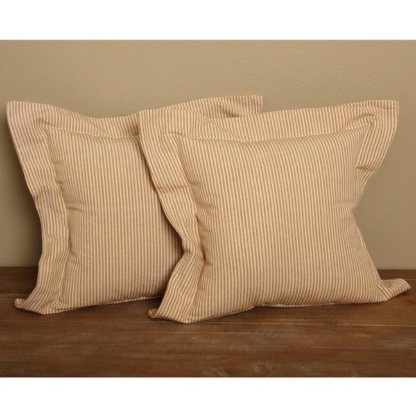 Tan Flanged Ticking Stripe Pillows (Set of 2)