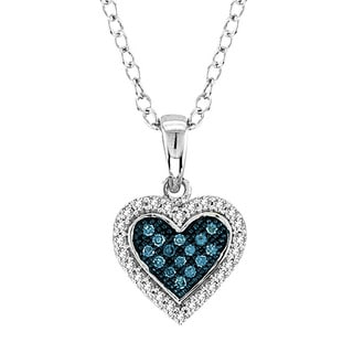 De Couer 10k Gold 1/6ct TDW Blue and White Diamond Heart Necklace