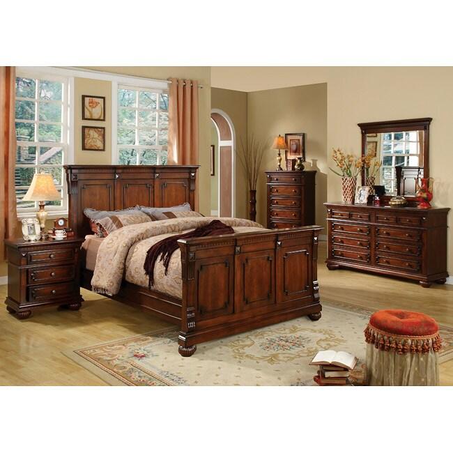 Furniture of America Preston Antique Dark Oak Finish 4-piece Queen-size Bed Set