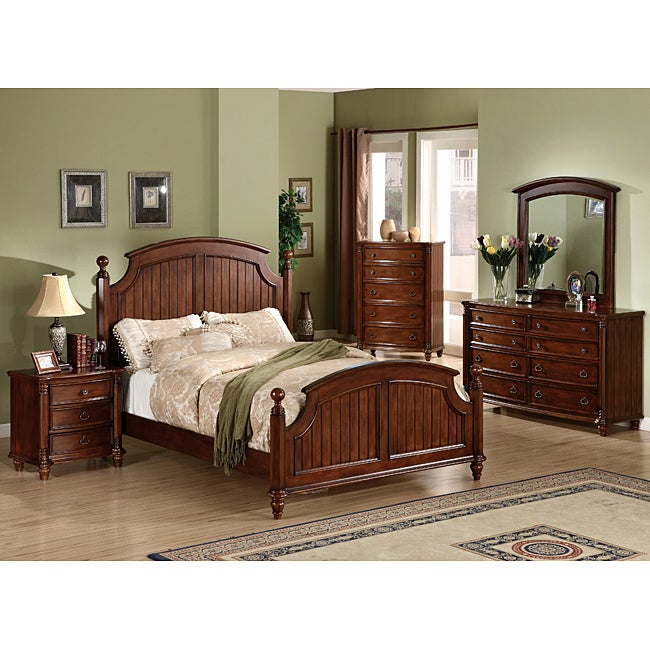 Furniture of America Louisa Brown Cherry Finish 4-piece Queen-size Bed Set