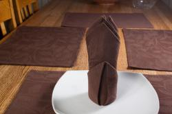 Chocolate Brown Floral Placemat and Napkin 8pc Set