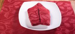 Floral Red-wine Cotton Placemat and Napkin Set - Thumbnail 2