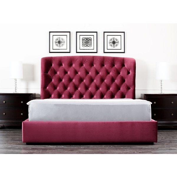 Abbyson Presidio Burgundy Tufted Upholstered Queen-size Bed