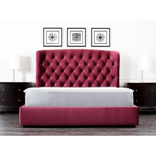 Shop Abbyson Living Presidio Burgundy Tufted Upholstered