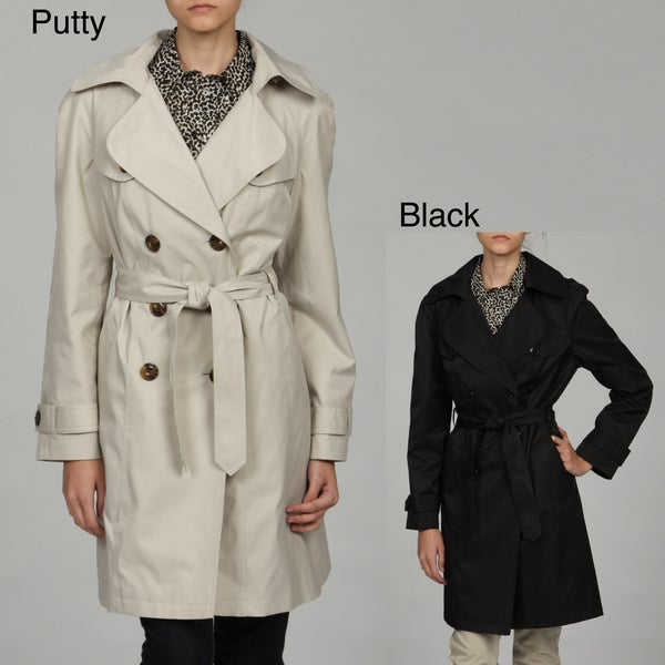 London Fog Women's Belted Double-breasted Trench Coat