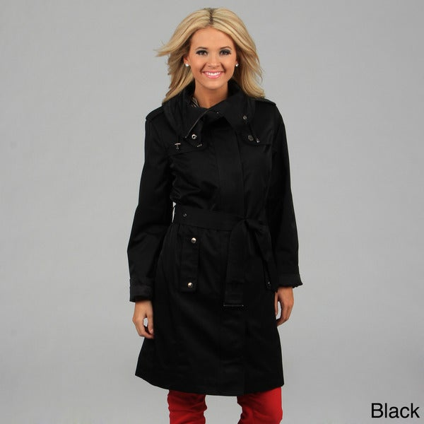 London Fog Women's Dark Truffle Belted Trench Coat FINAL SALE