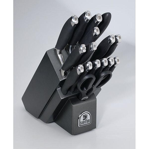 Sabatier Black and Silvertone 17-Piece Cutlery Set
