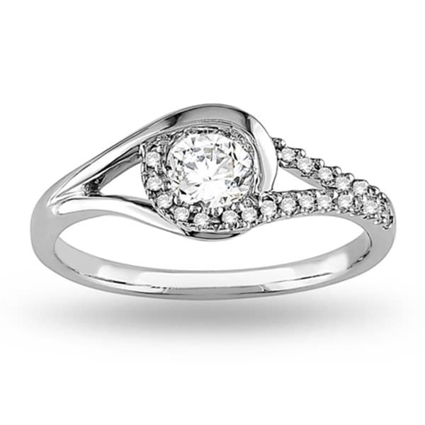 Miadora 14k White Gold 1/2ct TDW Diamond Swirl Bridal Ring