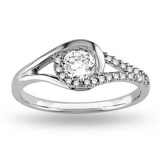 Miadora 14k White Gold 1/2ct TDW Diamond Swirl Bridal Ring (G-H, I2-I3)