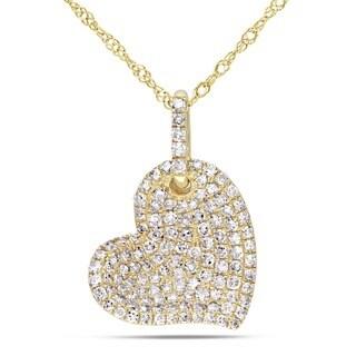Miadora 14k Yellow Gold 1/2ct TDW White Diamond Heart Necklace