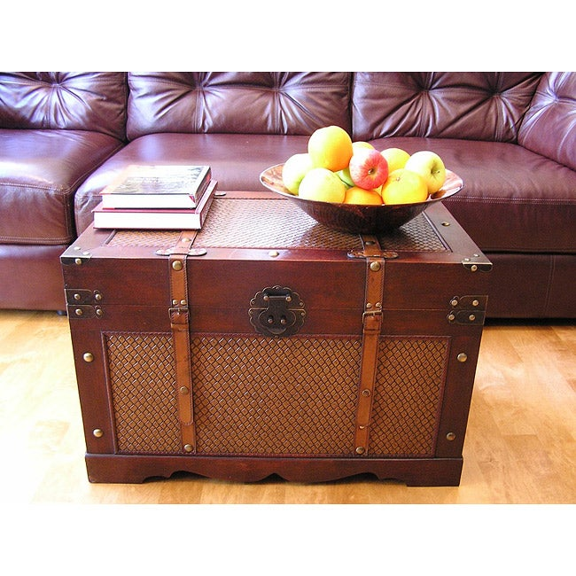 Shop cambridge large wood trunk and wooden treasure chest