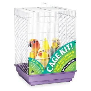 Prevue Pet Products Square Roof Bird Cage Kit White & Purple 91210