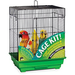 Prevue Pet Products Square Roof Bird Cage Kit Black & Green 91321