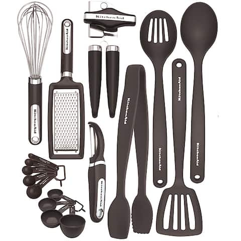 KitchenAid 17-Piece Kitchen Tool and Gadget Set in Black