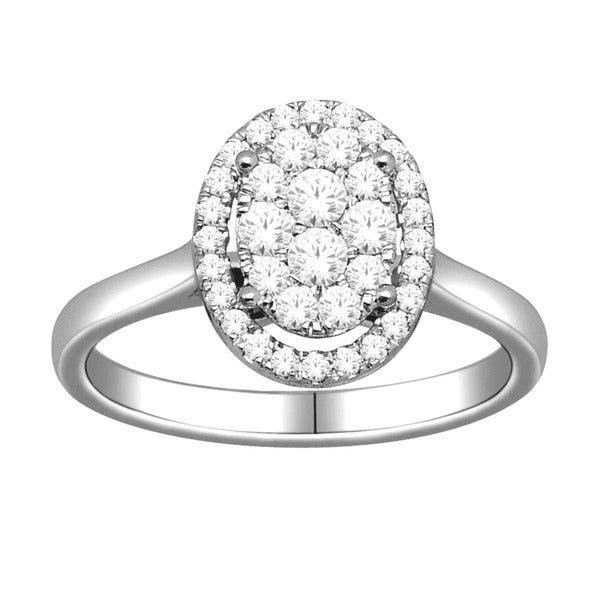 De Couer 10k White Gold 1/2ct TDW Diamond Oval Cluster Engagement Ring