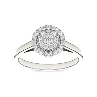 De Couer 10k Gold 1/3ct TDW Round Multi Stone Diamond Ring
