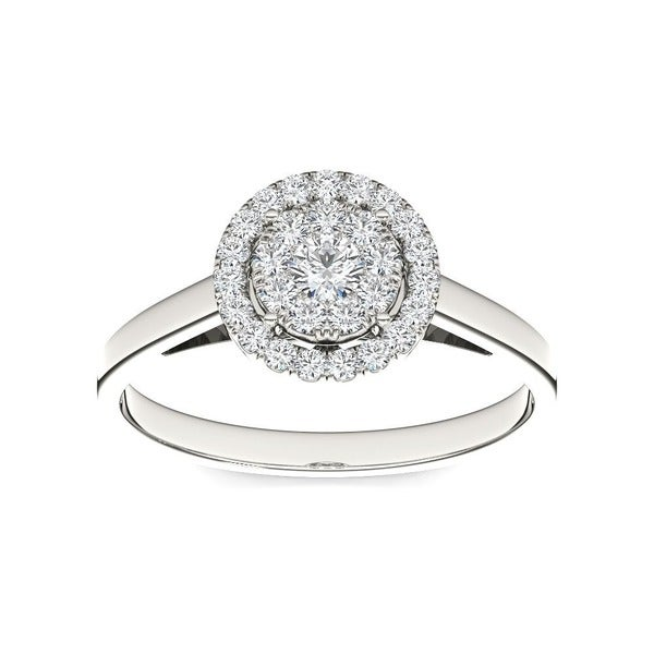De Couer 10k Gold 1/3ct TDW Round Multi Stone Diamond Ring