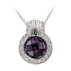 Icz Stonez Sterling Silver Purple Cubic Zirconia Circle Necklace