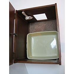 crown pet espresso cat hidden kitty litter cabinet end table cat litter box cabinet