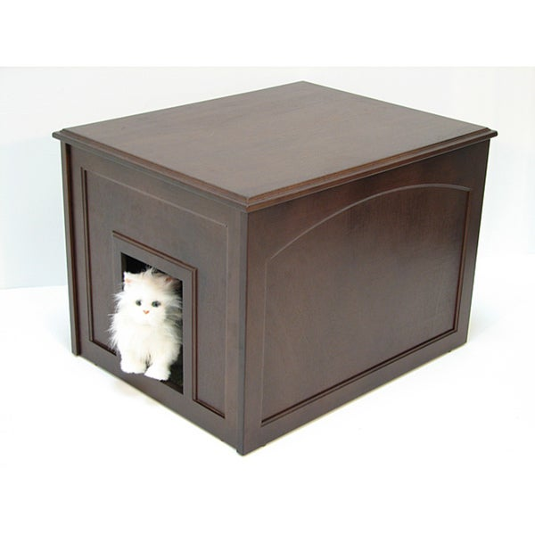 Crown Products Espresso Cat Hidden Kitty Litter Cabinet End Table