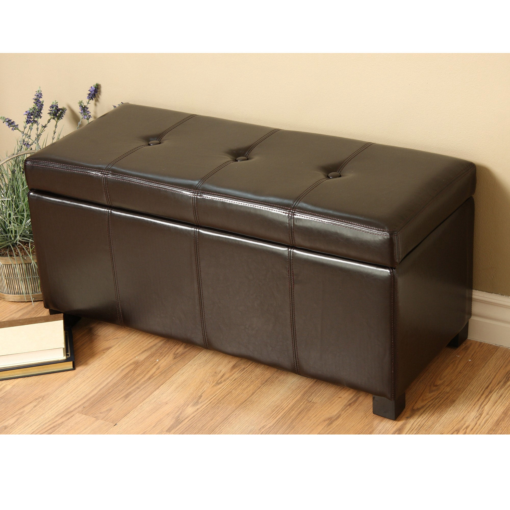Warehouse Of Tiffany Ariel Dark Brown Faux Leather Storage Bench Overstock 6312986 Brown