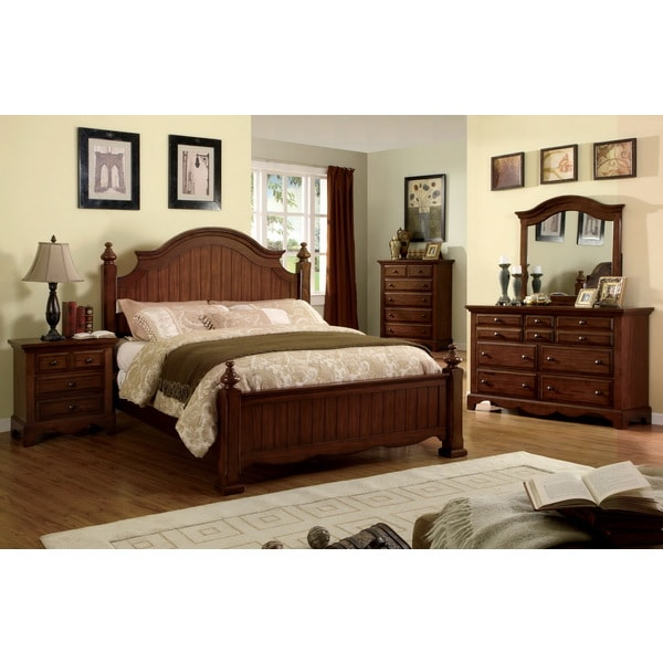 Furniture of america cherry oak finish 4 piece queen size - Queen size bedroom furniture sets ...