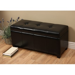 Warehouse of Tiffany Ariel Black Faux-Leather Storage Bench with Removable Lid