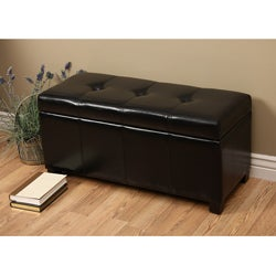 Warehouse of Tiffany Ariel Black Faux-Leather Storage Bench with Removable Lid  sc 1 st  Overstock.com & Black Leather Ottomans u0026 Storage Ottomans - Shop The Best Deals ... islam-shia.org