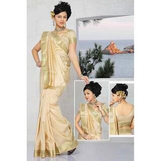 Handmade Sari Fabric with Golden Border (India) (Option: Gold)