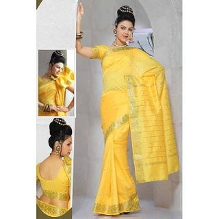 Handmade Sari Fabric with Golden Border (India) (2 options available)
