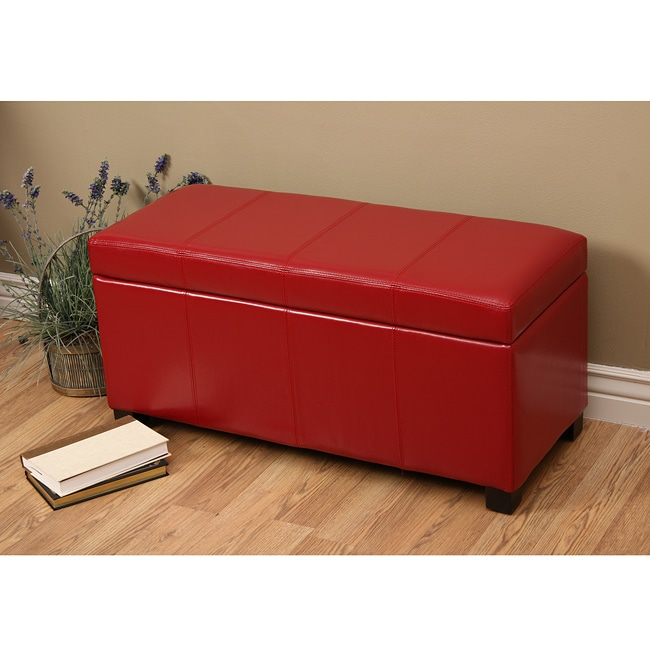 Warehouse Of Tiffany Ariel Red Faux Leather Storage Bench Free Shipping Today