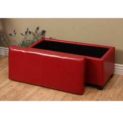Warehouse of Tiffany Ariel Red Faux Leather Storage Bench - Thumbnail 1