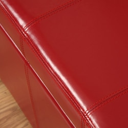 Warehouse of Tiffany Ariel Red Faux Leather Storage Bench - Thumbnail 2