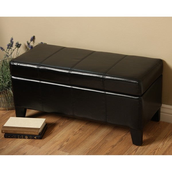 Ariel Black Storage Ottoman Bench