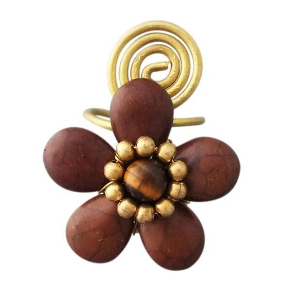 Handmade Goldtone Brown Howlite Floral Ring (Thailand)