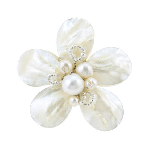 Handmade Silvertone Mother of Pearl and Pearl Daisy Ring (Thailand)