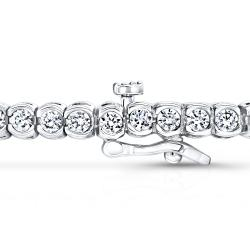 Auriya 14k Gold 6ct TDW Bezel Round Cut Diamond Tennis Bracelet - Thumbnail 1
