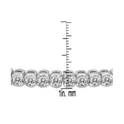Auriya 14k Gold 6ct TDW Bezel Round Cut Diamond Tennis Bracelet - Thumbnail 2