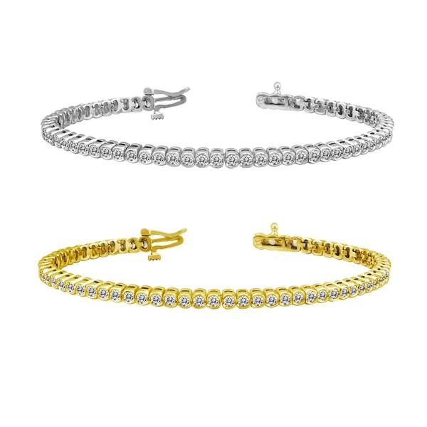 Auriya 14k Gold 6ct TDW Bezel Round Cut Diamond Tennis Bracelet