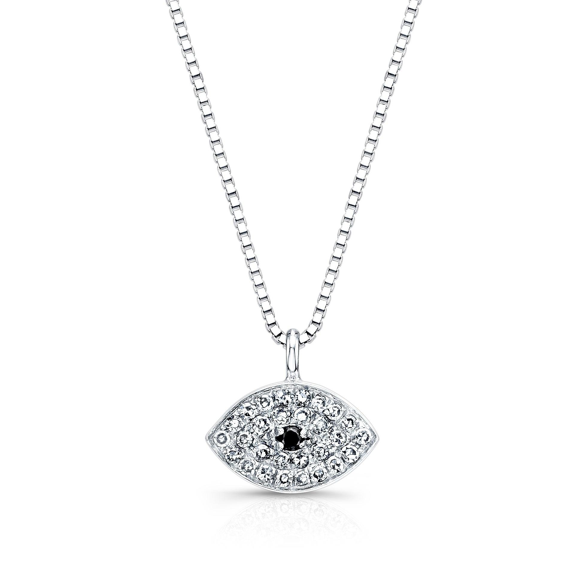 Auriya 14k Gold 1/10ct TDW Diamond Evil Eye Necklace
