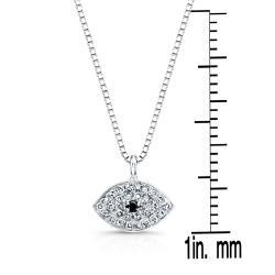 Auriya 14k Gold 1/10ct TDW Diamond Evil Eye Necklace - Thumbnail 2